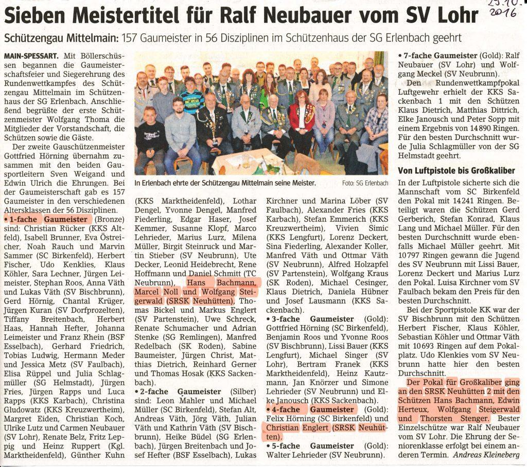 Sieben Meistertitel für Ralf Neubauer vom SV Lohr