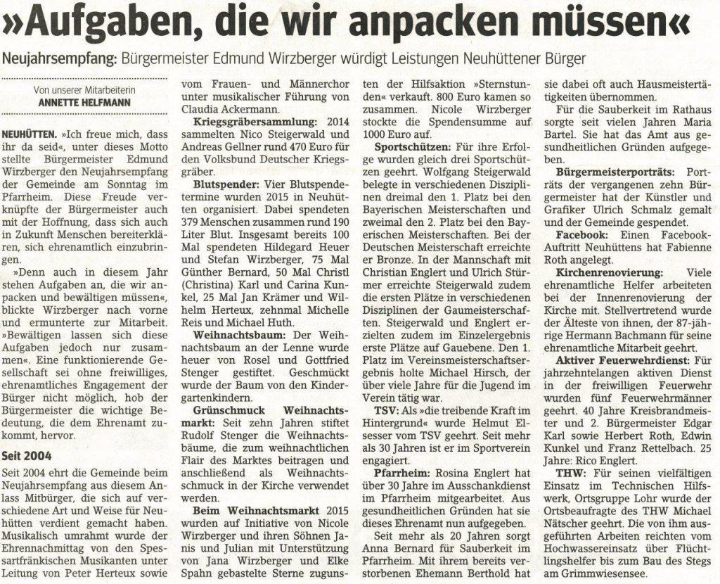 >>Aufgaben die wir anpacken müssen<< Neujahrsempfang: Bürgermeister edmund Wirzberger würdigt Leistungen Neuhüttener Bürger