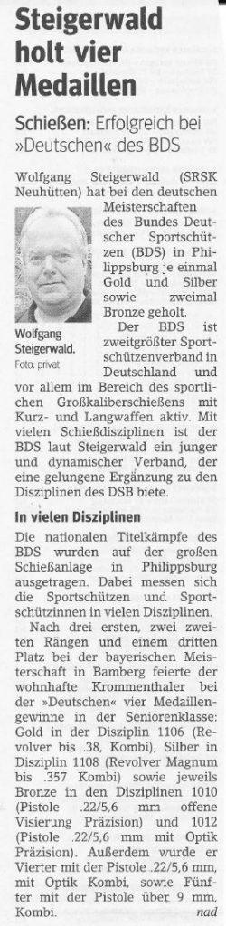 Steigerwald holt vier Medaillen. Erfolgreich bei Deutschen des BDS.