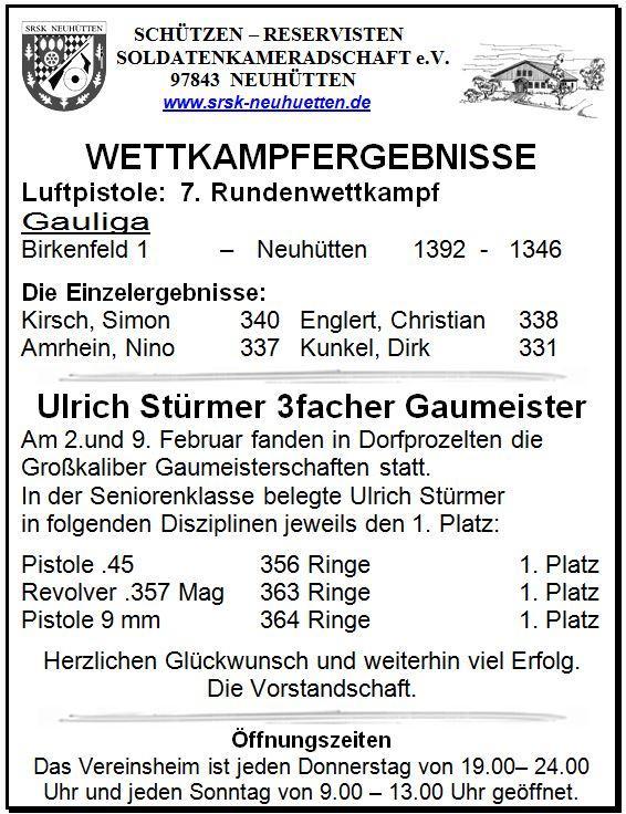 Wettkampfergebnisse Luftpistole:  7. Rundenwettkampf und Gaumeister Ulrich Stürmer